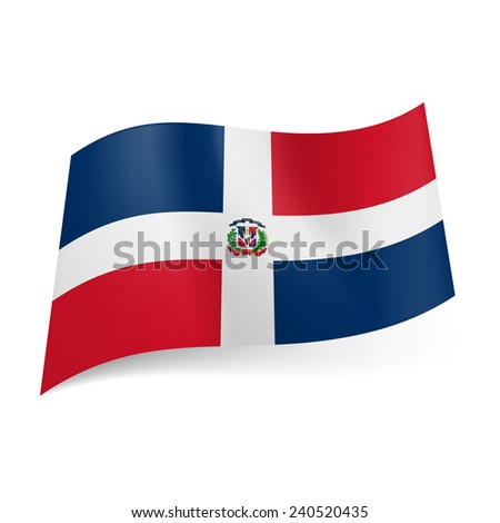 Raster version. National flag of Dominican Republic: white cross with coat-of-arms, four red and blue rectangles  - stock photo