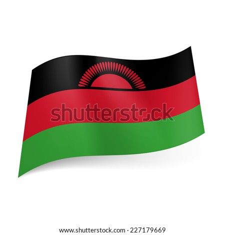 Raster version. National flag of Malawi: black, red and green horizontal stripes with red rising sun on black band  - stock photo
