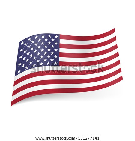 Raster version. National flag of United States of America, called Stars and Stripes. Blue, white and red colored banner.