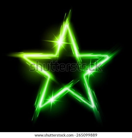 Raster version. Neon glowing green star with reflection in space