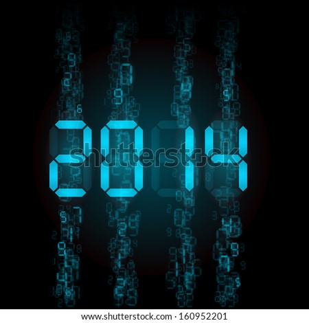 Raster version. New Year 2014: blue digital numerals on black. - stock photo