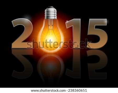 Raster version. New Year 2015: metal numerals with bulb instead of zero having weak reflection. Illustration on black background.  - stock photo