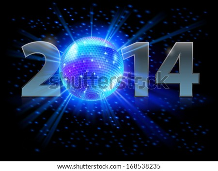 Raster version. New Year 2014: metal numerals with disco ball instead of zero. Illustration on black background.