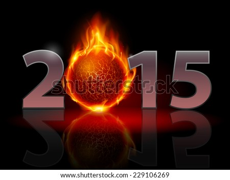Raster version. New Year 2015: metal numerals with fire ball instead of zero having weak reflection. Illustration on black background  - stock photo