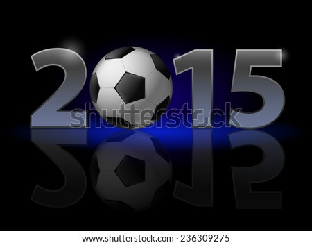 Raster version. New Year 2015: metal numerals with football instead of zero having weak reflection. Illustration on black background  - stock photo