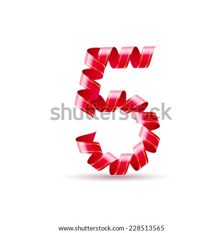 Raster version. Number five made of red curled shiny ribbon  - stock photo