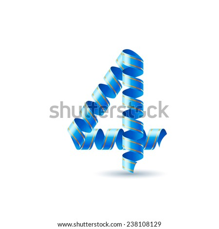 Raster version. Number four made of blue curled shiny ribbon  - stock photo