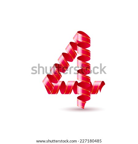 Raster version. Number four made of red curled shiny ribbon  - stock photo