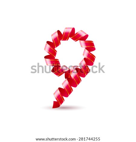 Raster version. Number nine made of red curled shiny ribbon