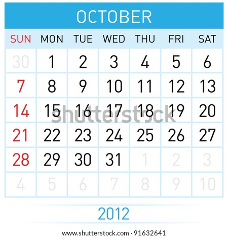 Raster version. October Calendar. Illustration on white background for design - stock photo