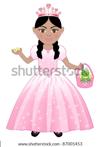 Raster version of a cute girl in a Pink Princess Costume. - stock photo