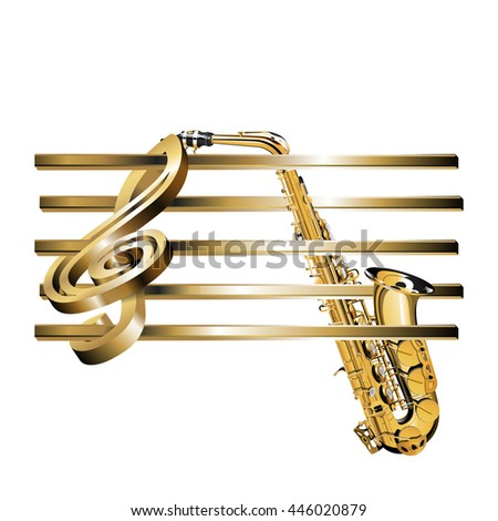 raster version of a gold surround treble clef with an empty golden stave and saxophone. Isolated object can be used with any text or image.