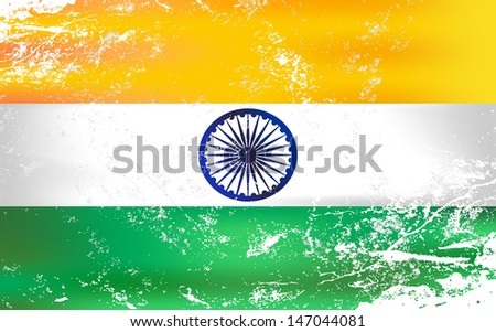 Raster version of a light grunge effect flag of India. Vector file is also available in my portfolio. - stock photo