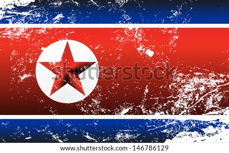 Raster version of a light grunge effect flag of North Korea. Vector file is also available in my portfolio - stock photo