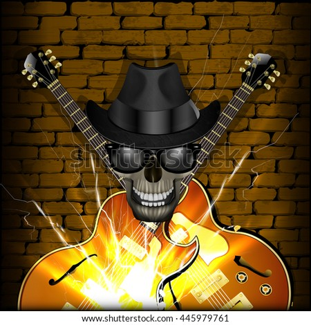 raster version of a skull wearing a hat with a jazz guitar on the brick wall background. Blackout on the sides allow the use of any image on a black background. - stock photo