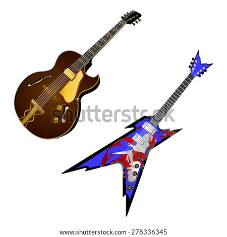 raster version of a stringed musical instrument electric guitar - stock photo