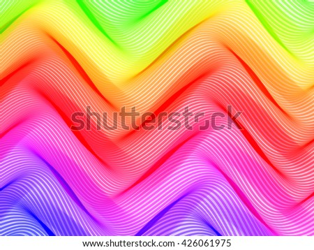 Raster version of abstract striped background. Rhythmic colorful lines. Spectrum background. Abstract composition with curve lines. Abstract 3d effect. Illusion of three dimensional surface. - stock photo