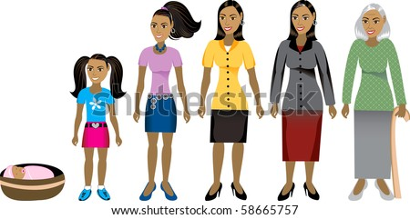Raster version of age progression. Available as men and women. - stock photo
