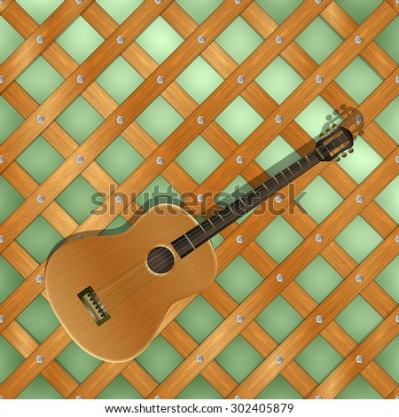 Raster version of an acoustic guitar on the background of wooden planks held together by cross hairs - stock photo