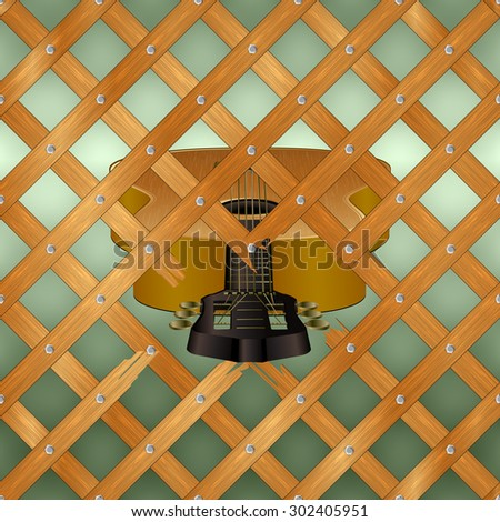 Raster version of an acoustic guitar with crossed planks breaks and breaks several racks - stock photo