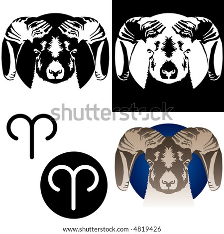 Raster version of Aries zodiac sign (also available as a vector in my gallery) - stock photo