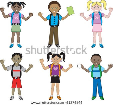 Raster version of big kids dressed for school. Also available in small kids. - stock photo