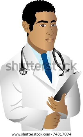 Raster version of black man doctor. See others in this series.