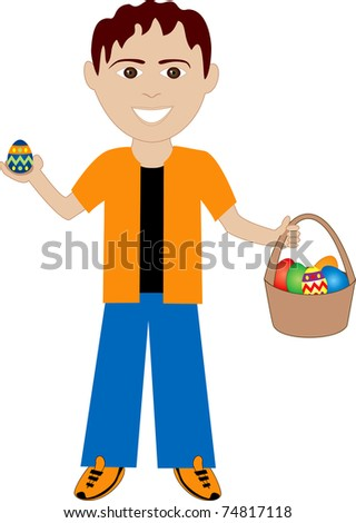 Raster version of boy with Easter Eggs and Basket. - stock photo