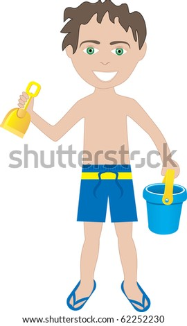 Raster version of brunette boy in swimsuit with sand bucket and shovel. - stock photo