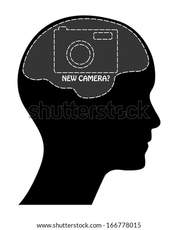 Raster version of camera sale concept with man head, brain, text and camera. Isolated easy to edit design. - stock photo