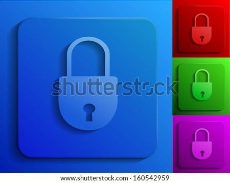 raster version of closed lock monochrome icons - stock photo