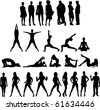 Raster version of collection of People Silhouettes Twenty Seven Figures. See my other Illustrations! - stock