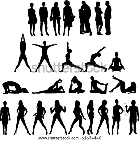 Raster version of collection of People Silhouettes Twenty Seven Figures. See my other Illustrations! - stock photo