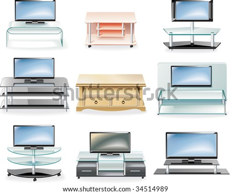 raster version of furniture icon set. Tv Stands - stock photo