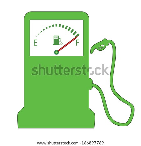 Raster version of gas station with fuel gauge. Green design pump isolated on white. - stock photo