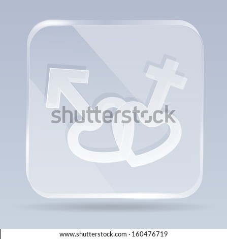 raster version of glass male and female icon - stock photo