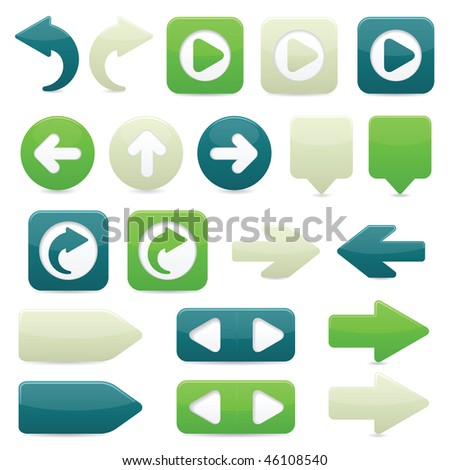 Raster version of glossy directional arrow buttons in bright green, dark blue and off-white - stock photo