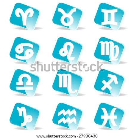raster version of glossy zodiac signs  icon set - stock photo