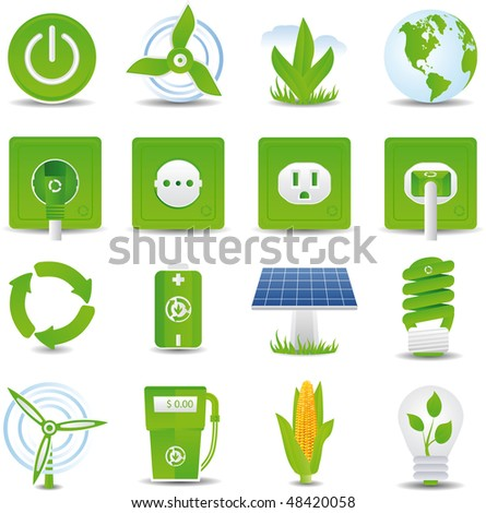 raster version of  green energy icon set - stock photo