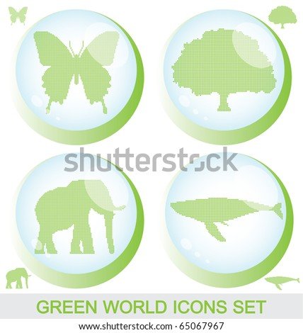 Raster version of green world glossy buttons with silhouettes inside and editable isolated silhouettes (vector available) - stock photo