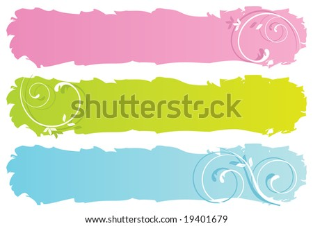raster version of grungy floral banners (vector available in my gallery)