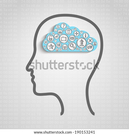 Raster version of head with creative cloud inside, memory concept - stock photo