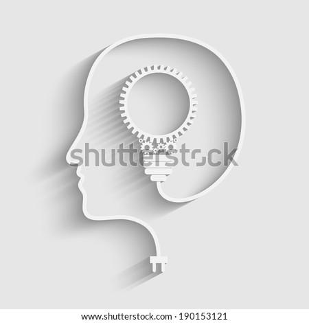 Raster version of Human head creating a new idea. Creative Idea - stock photo
