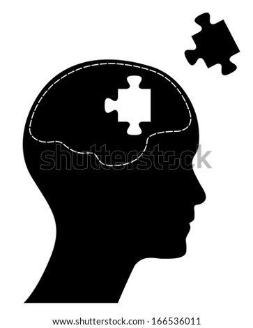 Raster version of human head with brain and missing puzzle. Creative brainstorm design concept. Isolated abstract illustration. - stock photo