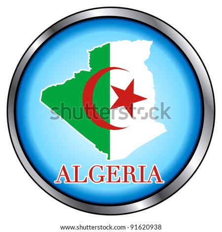 Raster version of Illustration for Algeria, Round Button. - stock photo