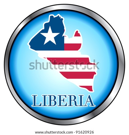 Raster version of Illustration for Liberia, Round Button. - stock photo