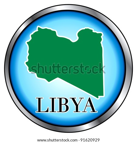 Raster version of Illustration for Libya, Round Button. - stock photo