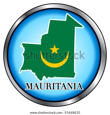 Raster version of Illustration for Mauritania, Round Button. - stock photo