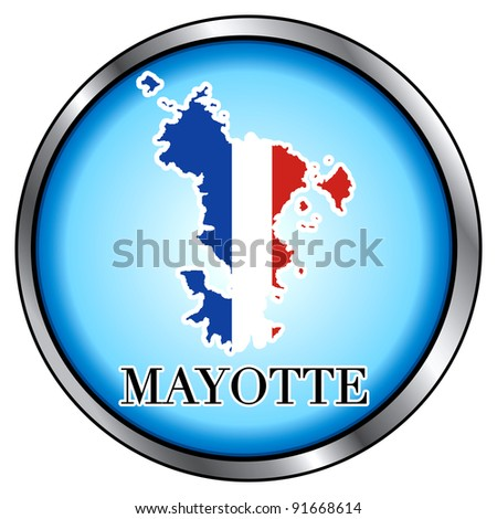 Raster version of Illustration for Mayotte, Round Button. - stock photo