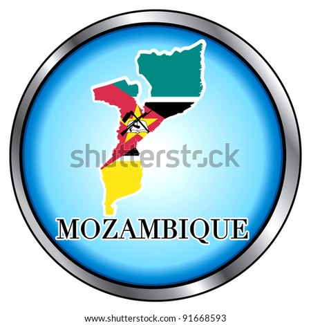 Raster version of Illustration for Mozambique, Round Button. - stock photo